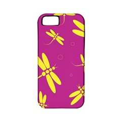 Purple And Yellow Dragonflies Pattern Apple Iphone 5 Classic Hardshell Case (pc+silicone) by Valentinaart