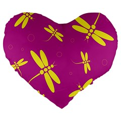 Purple And Yellow Dragonflies Pattern Large 19  Premium Heart Shape Cushions by Valentinaart