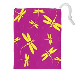 Purple and yellow dragonflies pattern Drawstring Pouches (XXL) by Valentinaart