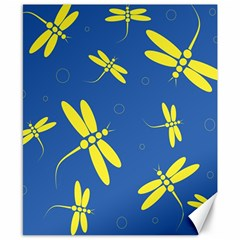Blue and yellow dragonflies pattern Canvas 8  x 10