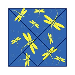 Blue And Yellow Dragonflies Pattern Acrylic Tangram Puzzle (6  X 6 ) by Valentinaart