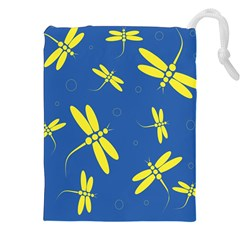 Blue And Yellow Dragonflies Pattern Drawstring Pouches (xxl) by Valentinaart