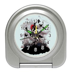 Dancing With Crows Travel Alarm Clocks by lvbart
