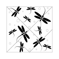 Black And White Dragonflies Acrylic Tangram Puzzle (6  X 6 ) by Valentinaart