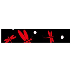 Red, Black And White Dragonflies Flano Scarf (small) by Valentinaart