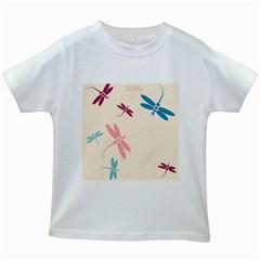 Pastel Dragonflies  Kids White T Shirts by Valentinaart