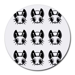 Black And White Fireflies Patten Round Mousepads by Valentinaart