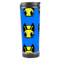 Yellow And Blue Firefies Travel Tumbler by Valentinaart