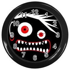 Crazy Monster Wall Clocks (black) by Valentinaart