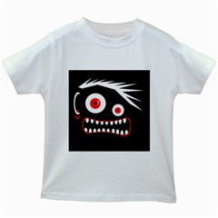 Crazy Monster Kids White T Shirts by Valentinaart