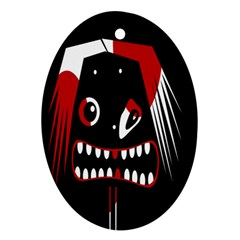 Zombie face Ornament (Oval)  by Valentinaart