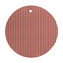 Mod Pink Green Pattern Round Ornament (two Sides)  by BrightVibesDesign