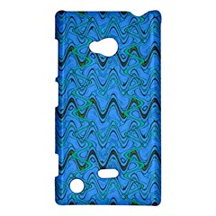 Blue Wavy Squiggles Nokia Lumia 720 by BrightVibesDesign