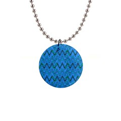 Blue Wavy Squiggles Button Necklaces by BrightVibesDesign