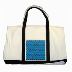 Blue Wavy Squiggles Two Tone Tote Bag by BrightVibesDesign