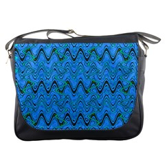 Blue Wavy Squiggles Messenger Bags by BrightVibesDesign