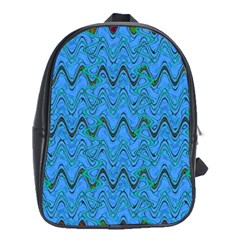 Blue Wavy Squiggles School Bags (xl)  by BrightVibesDesign