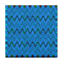 Blue Wavy Squiggles Tile Coasters by BrightVibesDesign