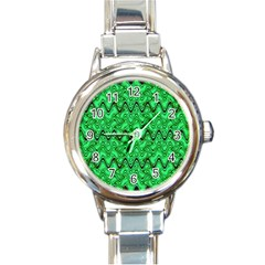 Green Wavy Squiggles Round Italian Charm Watch by BrightVibesDesign