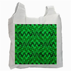 Green Wavy Squiggles Recycle Bag (one Side) by BrightVibesDesign