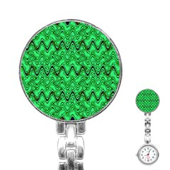 Green Wavy Squiggles Stainless Steel Nurses Watch by BrightVibesDesign
