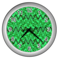Green Wavy Squiggles Wall Clocks (Silver)  by BrightVibesDesign
