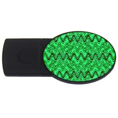 Green Wavy Squiggles Usb Flash Drive Oval (4 Gb)  by BrightVibesDesign