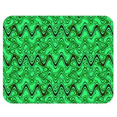 Green Wavy Squiggles Double Sided Flano Blanket (medium)  by BrightVibesDesign
