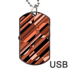 Orange pattern Dog Tag USB Flash (Two Sides)  by Valentinaart