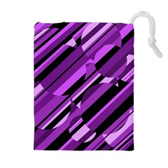 Purple pattern Drawstring Pouches (Extra Large) by Valentinaart