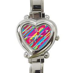Colorful Summer Pattern Heart Italian Charm Watch by Valentinaart