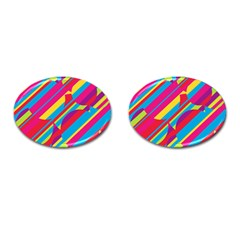Colorful summer pattern Cufflinks (Oval) by Valentinaart