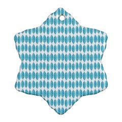 Blue Watercolour Leaf Pattern Snowflake Ornament (2 Side) by TanyaDraws