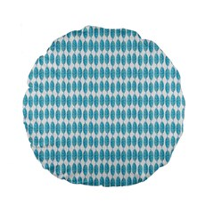 Blue Watercolour Leaf Pattern Standard 15  Premium Flano Round Cushions by TanyaDraws