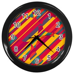 Colorful Hot Pattern Wall Clocks (black) by Valentinaart