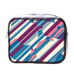 Blue And Pink Pattern Mini Toiletries Bags by Valentinaart