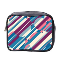 Blue And Pink Pattern Mini Toiletries Bag 2 Side by Valentinaart