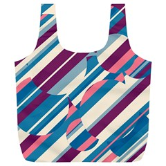 Blue And Pink Pattern Full Print Recycle Bags (l)  by Valentinaart