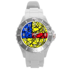 Yellow Abstract Pattern Round Plastic Sport Watch (l) by Valentinaart