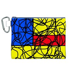 Yellow Abstract Pattern Canvas Cosmetic Bag (xl) by Valentinaart