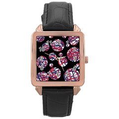 Colorful decorative pattern Rose Gold Leather Watch  by Valentinaart