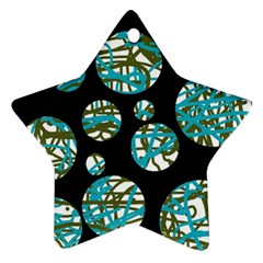 Decorative Blue Abstract Design Ornament (star)  by Valentinaart