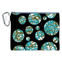Decorative Blue Abstract Design Canvas Cosmetic Bag (xxl) by Valentinaart