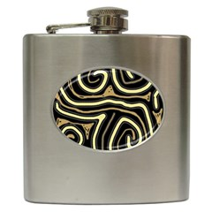 Brown Elegant Abstraction Hip Flask (6 Oz) by Valentinaart