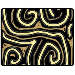 Brown elegant abstraction Double Sided Fleece Blanket (Medium)  by Valentinaart