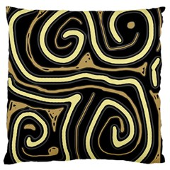 Brown Elegant Abstraction Large Flano Cushion Case (one Side) by Valentinaart