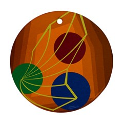Orange Abstraction Ornament (round)  by Valentinaart