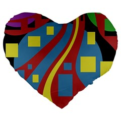 Colorful Abstrac Art Large 19  Premium Heart Shape Cushions by Valentinaart