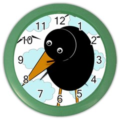 Black Raven Color Wall Clocks by Valentinaart