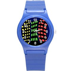Colorful Abstract City Landscape Round Plastic Sport Watch (s) by Valentinaart